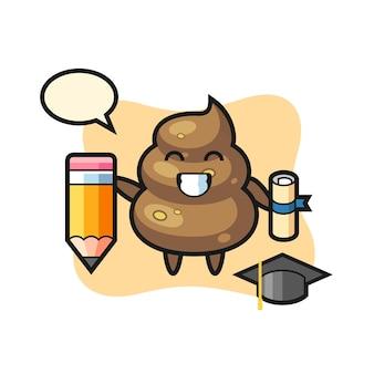 Poop-illustrationskarikatur ist abschluss mit einem riesigen bleistift, niedlichem design für t-shirt, aufkleber, logo-element
