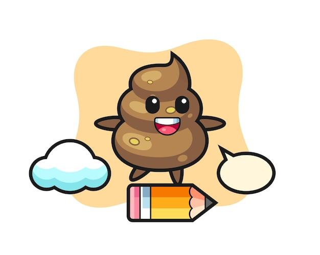Poop-maskottchen-illustration, die auf einem riesigen bleistift reitet, niedliches design für t-shirt, aufkleber, logo-element