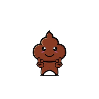 Poop niedlichen charakter flache cartoon-vektor-illustration-icon-design lustig