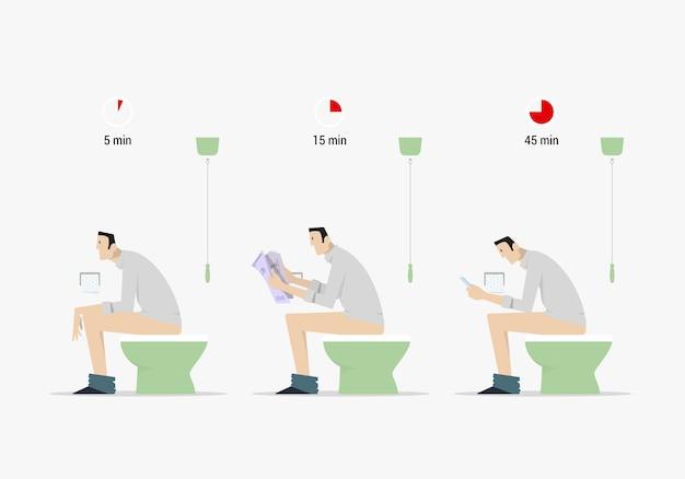 Poop zeitvergleich. seitenansicht des karikaturmanns, der auf toilette in drei verschiedenen situationen sitzt.