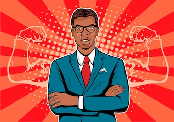 Pop-Art-afroamerikanischer Geschäftsmann