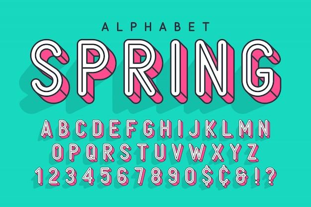Pop-art, alphabet, buchstaben und zahlen in komprimierter anzeige