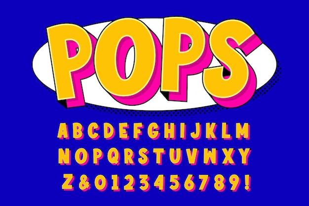 Pop-art-alphabet und zahl