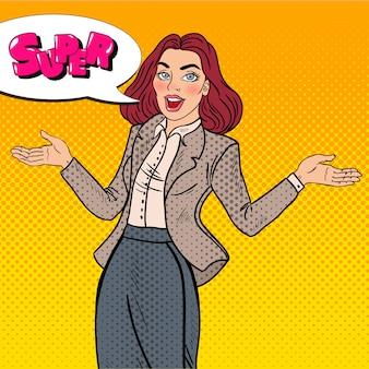 Pop art aufgeregt glückliche geschäftsfrau.