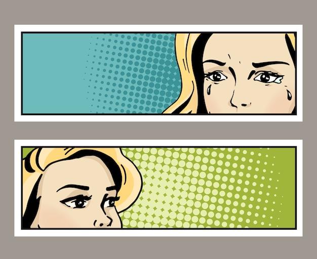 Pop-art-banner mit weiblichen augen und leerzeichen für text. cartoon schöne frau augen. vintage werbeplakat. comic hand gezeichnete illustration.