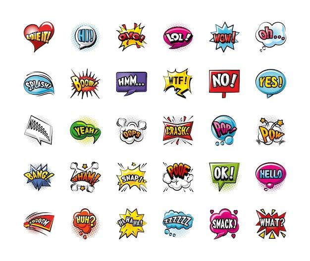 Pop-art-blasen detailliertes stil-30-symbol-set-design des retro-ausdrucks-comics