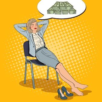 Pop art business woman entspannen und träumen über geld.