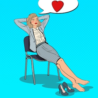 Pop art business woman entspannen und träumen von liebe.