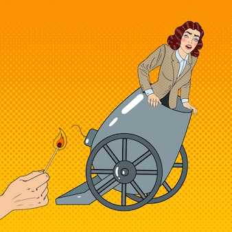 Pop art cannon business woman wird gefeuert.