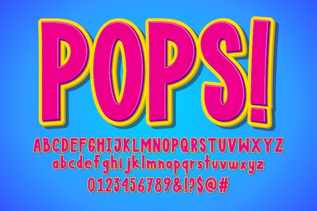 Pop-art-cartoon, retro-cartoon-alphabet