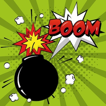 Pop-art-comic-bombe boom explosion grünen sunburst