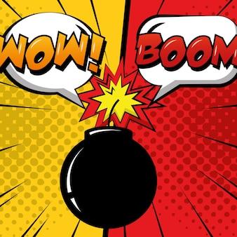 Pop-art-comic humor bombe boom rede blasen punkte hintergrund