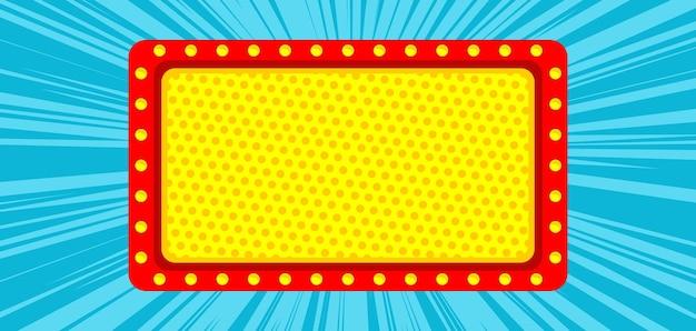 Pop-art-comic mit leerer kinotafel