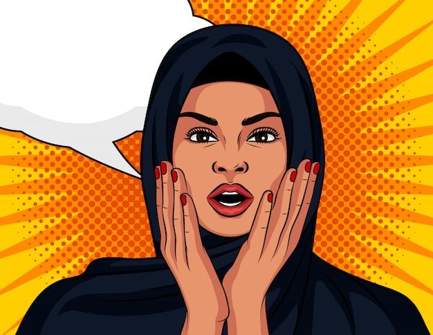 Pop-art-comic-stil. eine schöne frau in einem traditionellen islamischen schal ist überrascht.