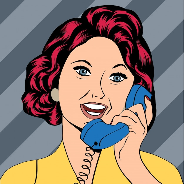 Pop art dame chatten am telefon
