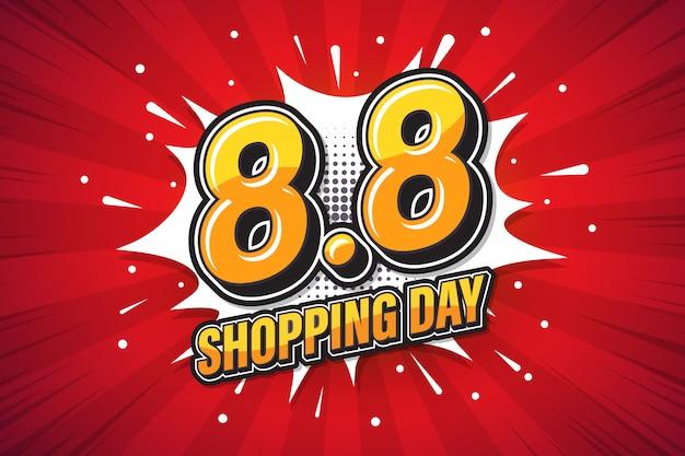 Pop-art des shopping day-schriftausdrucks. marketing-banner