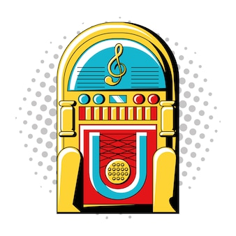 Pop-art-design mit rockola-symbol