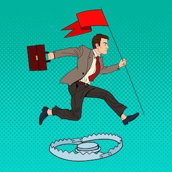 Pop art erfolgreicher geschäftsmann mit der flagge, die über die falle springt.