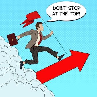Pop art erfolgreicher geschäftsmann mit flagge, die an die spitze läuft. geschäftsmotivation führung.