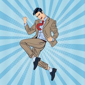 Pop art erfolgreicher geschäftsmann springen. illustration