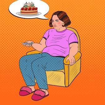 Pop art fat woman fernsehen mit fernbedienung