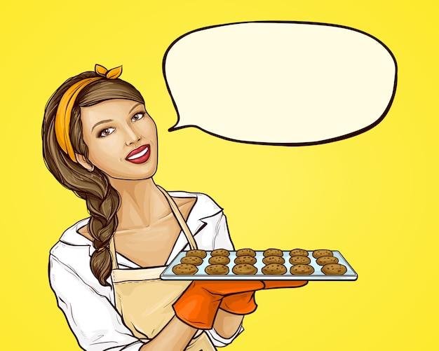 Pop-art-frau, die tablett mit keksen hält