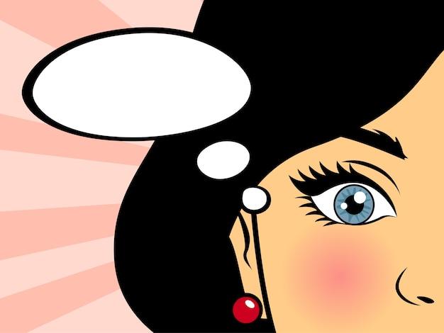 Pop-art-frau, die unter verwendung der sprechblase auf rosa hintergrund spricht. weinlesemädchen mit roten lippen im comicstil. illustration