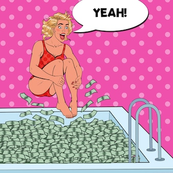 Pop art freudige frau, die zum geldpool springt. erfolgreiche geschäftsfrau. finanzieller erfolg, vermögenskonzept.