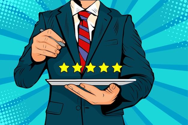 Pop-art fünf-sterne-bewertung der qualität des service