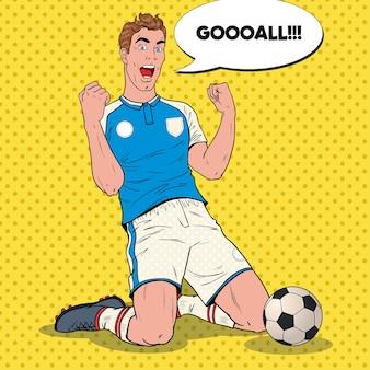 Pop-art-fußballspieler, der ziel feiert. glücklicher fußballer, sportkonzept, weltmeisterschaft.