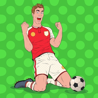 Pop-art-fußballspieler, der ziel feiert. glücklicher fußballer, sportkonzept.
