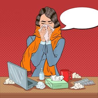 Pop-art-geschäftsfrau, die sich krank bei der arbeit mädchen mit grippe fühlt