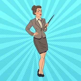 Pop-art-geschäftsfrau mit zeigerstab.