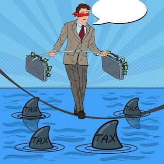 Pop-art-geschäftsmann, der auf dem seil mit aktentasche über dem meer mit haien geht.