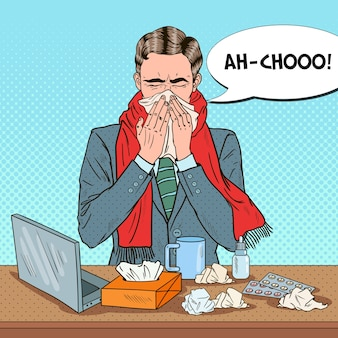 Pop-art-geschäftsmann, der bei büroarbeit niest. mann mit gewebe