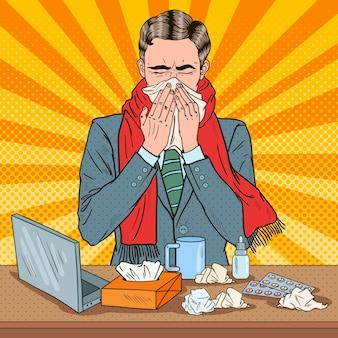 Pop-art-geschäftsmann, der bei der arbeit niest
