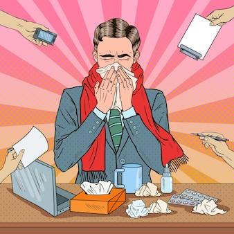 Pop-art-geschäftsmann, der bei multi-tasking-büroarbeit niest Premium Vektoren