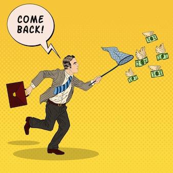 Pop-art-geschäftsmann, der fliegendes geld fängt. illustration