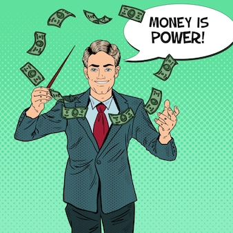 Pop-art-geschäftsmann führt geld mit einem schlagstock.