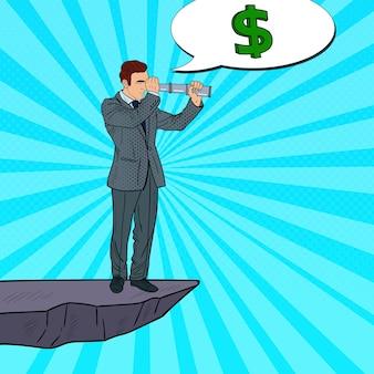 Pop-art-geschäftsmann mit fernglas auf der spitze des berges auf der suche nach geld. geschäftsinvestitionen.