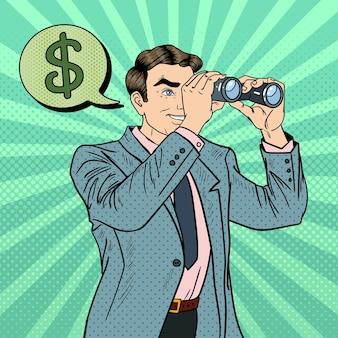 Pop-art-geschäftsmann mit fernglas auf der suche nach geld. illustration