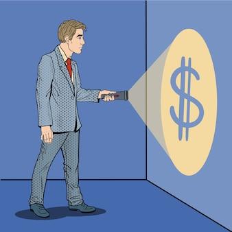 Pop art geschäftsmann mit taschenlampe auf der suche nach geld.
