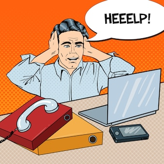 Pop art gestresster geschäftsmann im büro arbeit mit telefon und laptop. illustration