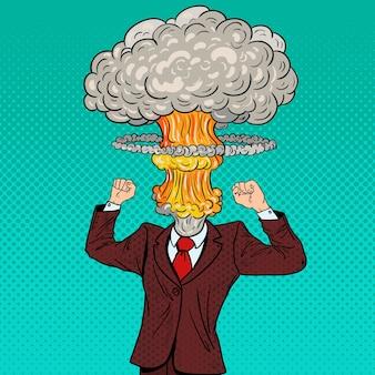 Pop art gestresster geschäftsmann mit explosionskopf.