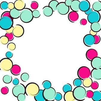 Pop-art-grenze mit komischem polka-dot-konfetti. große farbige flecken, spiralen und kreise auf weiß. vektor-illustration. kinderspritzer aus kunststoff für geburtstagsfeiern. regenbogen-pop-art-grenze.
