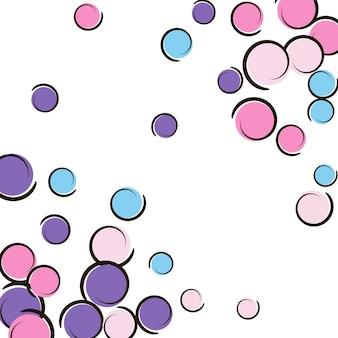 Pop-art-grenze mit komischem polka-dot-konfetti. große farbige flecken, spiralen und kreise auf weiß. vektor-illustration. regenbogen kindischer spritzer für geburtstagsfeier. regenbogen-pop-art-grenze.