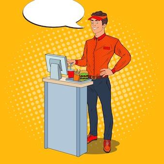 Pop art happy cashier nimmt die bestellung auf