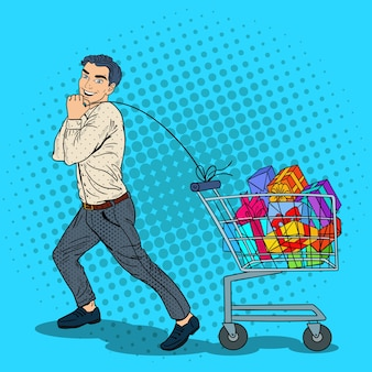 Pop art happy man mit einkaufswagen voller geschenke.