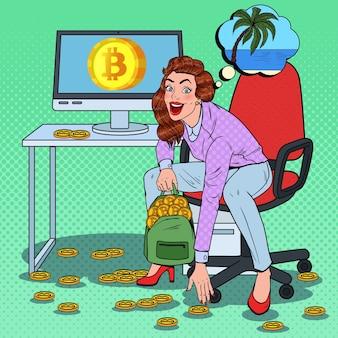 Pop art happy woman legte bitcoins in rucksack