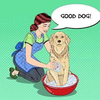 Pop art happy woman waschhund